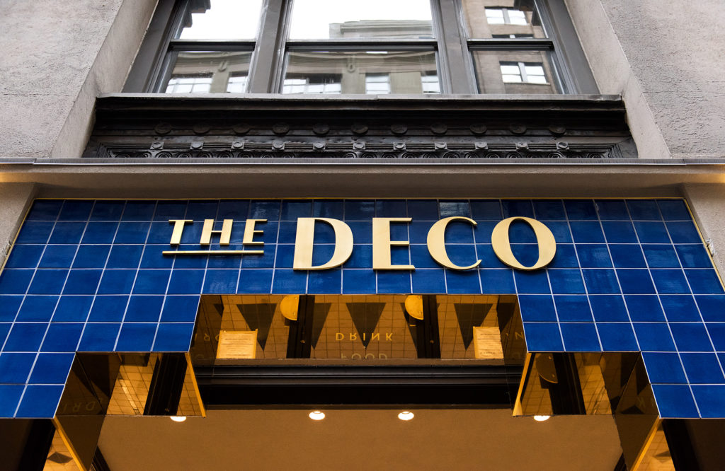 The exterior sign at The Deco