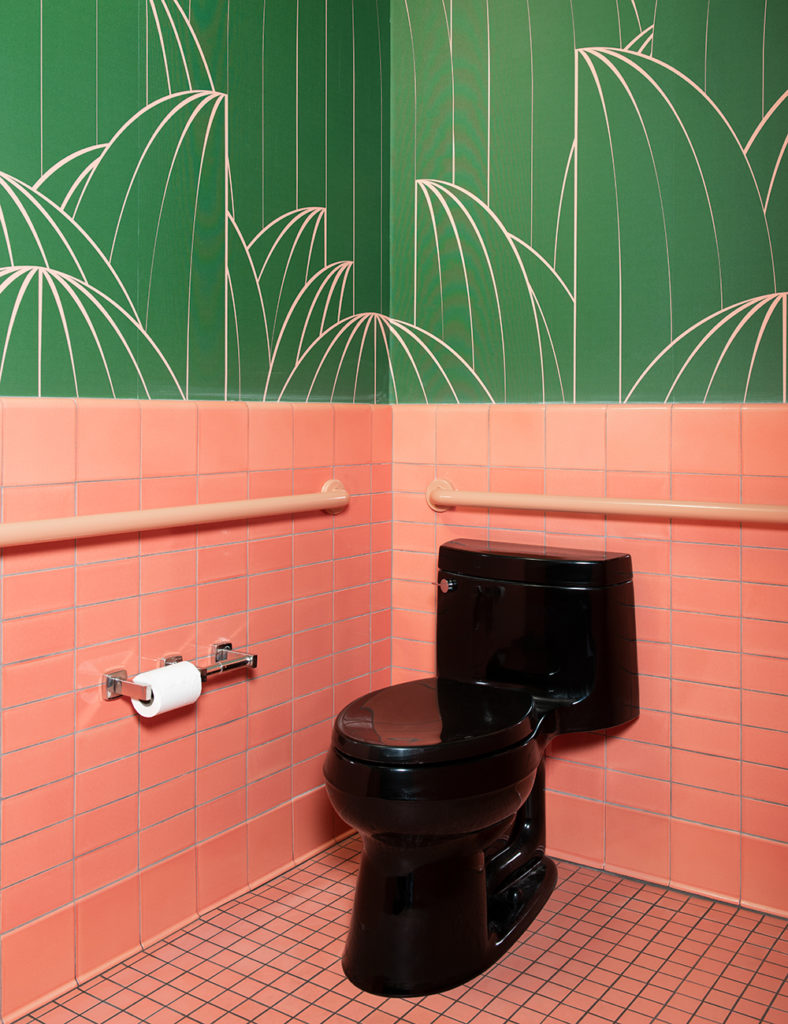 Custom wallpaper designed by LMNOP for bathrooms at The Deco