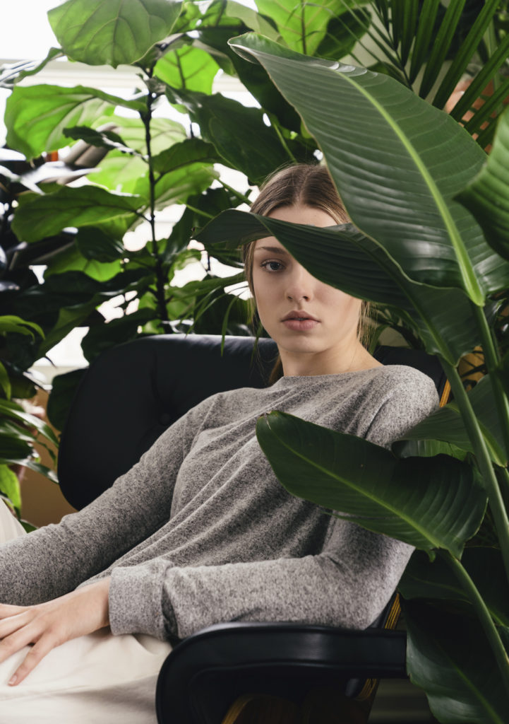 Woman and many plants
