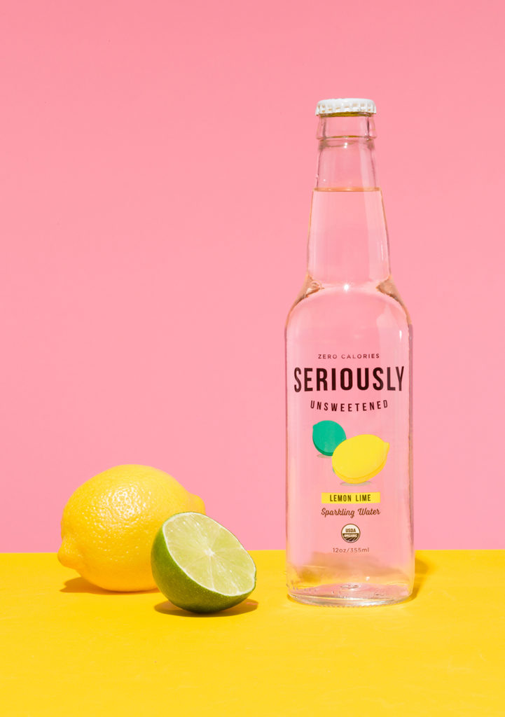 Seriously Unsweetened lemon lime seltzer with a lemon and a lime